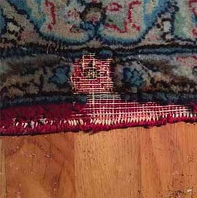 Photo of an area rug damaged by moths.