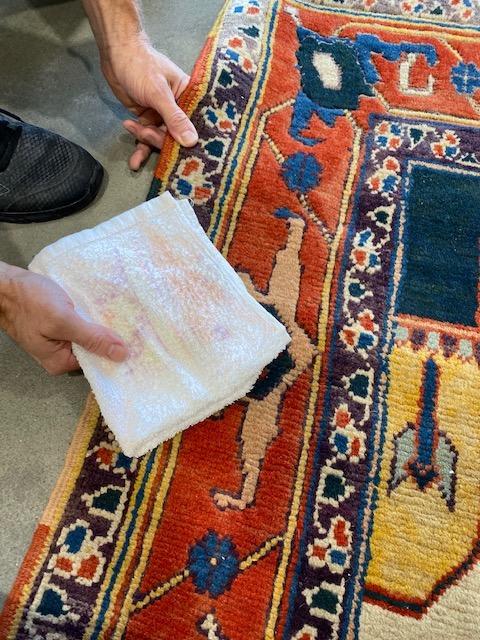 Dye test on a rug