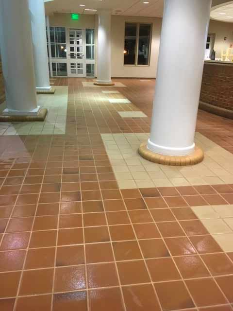 Photo of a large floor made of tile.